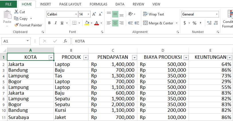 Contoh database ternormalisasi