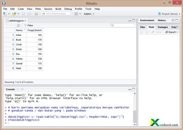 cara import data dari excel ke R Studio