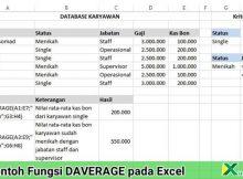 contoh penggunaan fungsi daverage pada excel