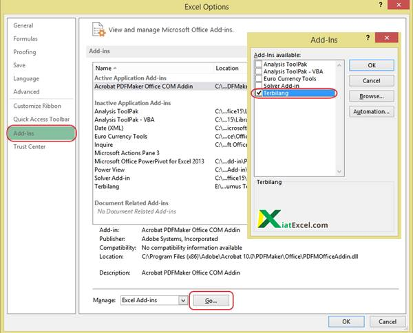 Add in option excel kiatexcel