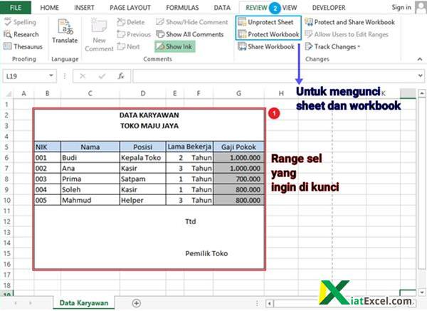 cara kunci sheet excel