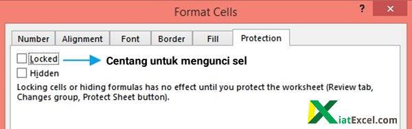 cara kunci sel excel pada format cells