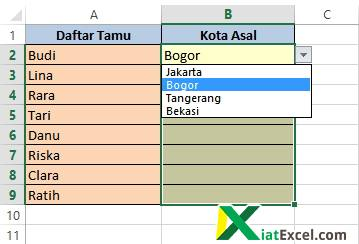 contoh drop down list di excel