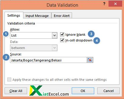 data validation setting