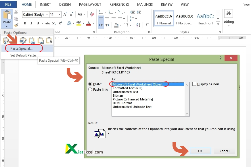 copy tabel excel ke word dengan paste special