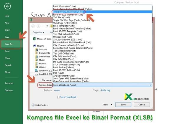 kompres file excel ke binari format