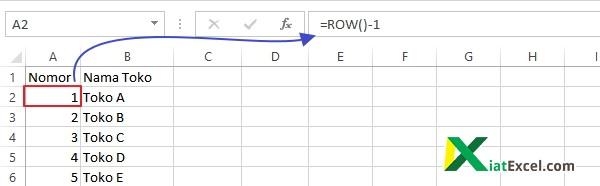 membuat nomor urut di excel dengan fungsi ROW