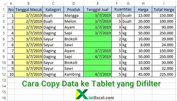 cara copy data ke tabel yang difilter