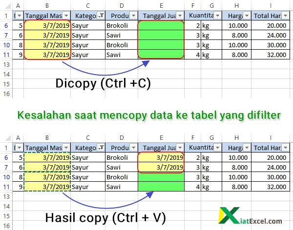 kesalahan saat mencopy data ke tabel yang difilter