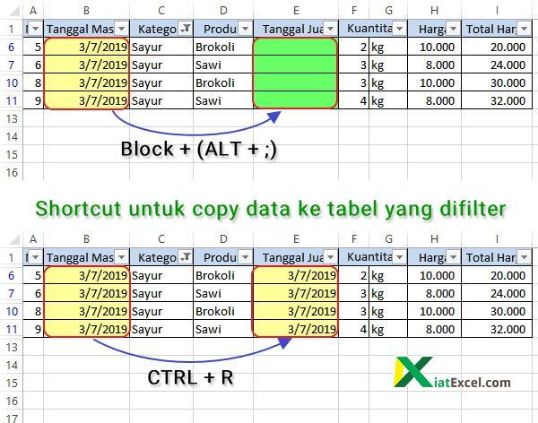 shortcut untuk copy data ke tabel yang difilter