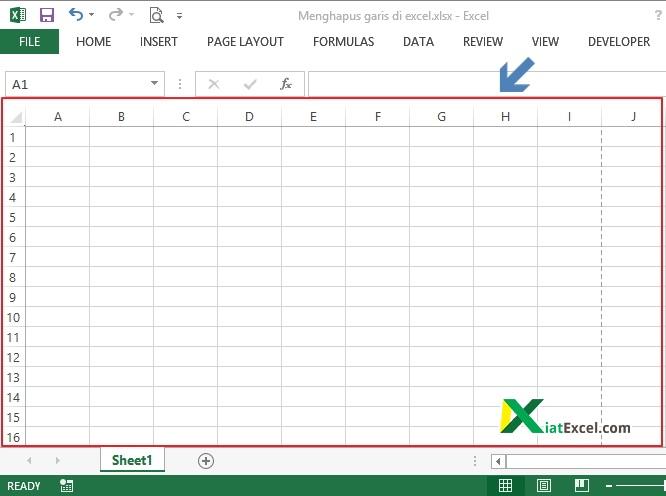 lembar kerja dengan garis grid