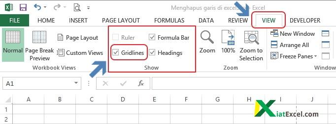 menu view untuk menghilangkan gridlines