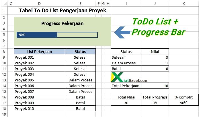 membuat todo list + progress bar dengan excel