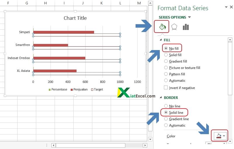 pengaturan grafik progress bar di excel