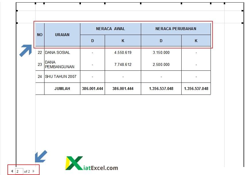 tampilan judul tabel excel di halaman ke dua