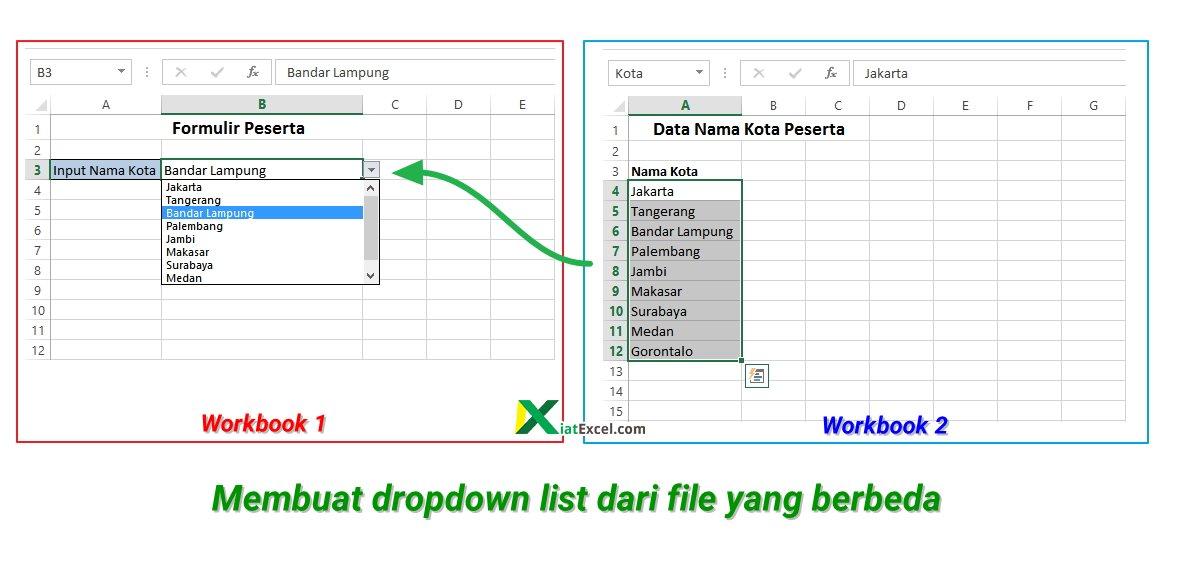 Cara membuat dropdown list dari file yang berbeda