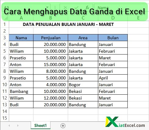 Cara Menghapus Data Ganda di Excel - KiatExcel.com