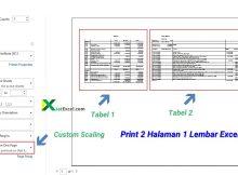 cara print dua halaman dalam satu lembar excel